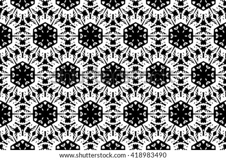 Ornament with elements of black and white colors. a