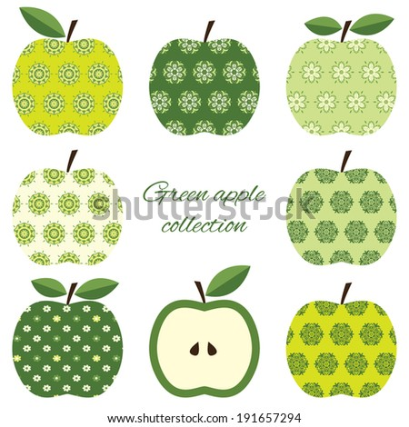 Ornamental apples set isolated on white. Raster copy.