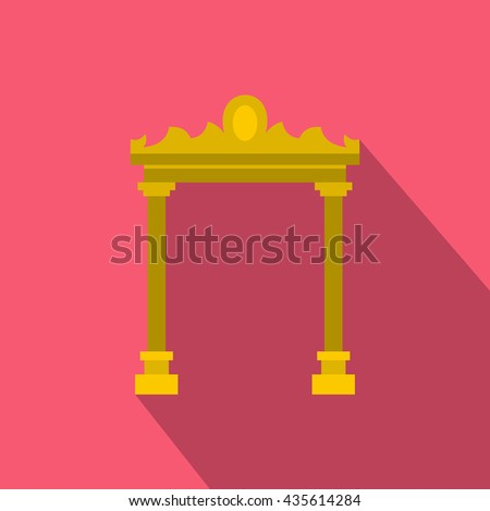 Ornamental arch icon, flat style - stock photo