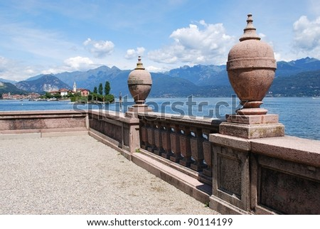 Ornamental balustrade on Borromean Island Isola Bella, Lake Maggiore, Stresa, Piedmont, Italy - stock photo