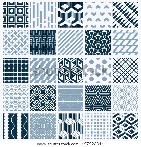 ornamental black and white seamless backdrops set, geometric patterns  collection. Ornate textures made in