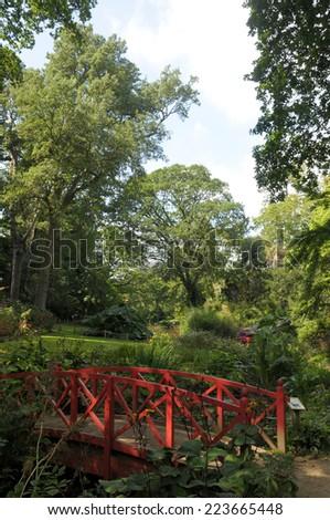Ornamental bridge in Abbotsbury gardens, Dorset - stock photo