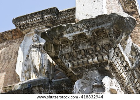 Ornamental ceiling with statue of roman time church  - stock photo