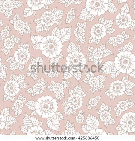 Ornamental colored seamless floral pattern with flowers, doodles  - stock photo