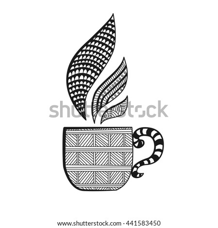 Ornamental cup with steam. Doodle style. Decorative element. Raster copy - stock photo