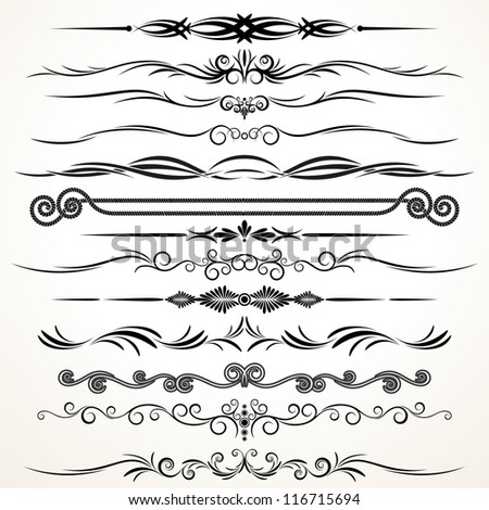 Ornamental Design Elements. Ornamental Lines to Embellish your Book, Invitation, Card or Menu - stock photo