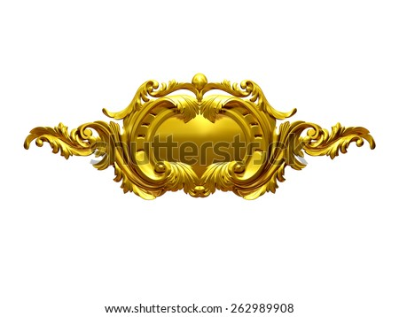 ornamental Emblem in Gold - stock photo