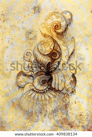 ornamental filigran drawing on paper with spirals, flower petals and flame structure pattern, Color effect and Computer collage - stock photo