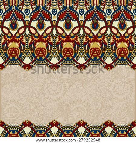 ornamental floral folkloric background for invitation, cover design, fabric pattern or page decoration, ethnic border on vintage flower background in beige color, raster version - stock photo