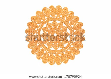 ornamental lace pattern isolated on white  background  - stock photo