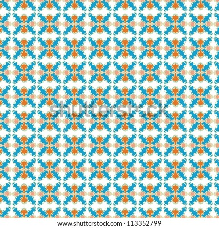 Ornamental pattern with warm and cool color composition