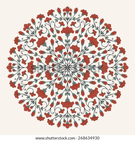 Ornamental round lace pattern. Raster version. - stock photo