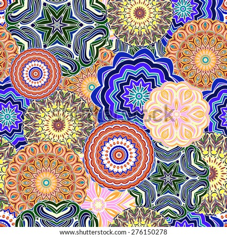 Ornamental seamless pattern, background with many details. Oriental colorful traditional ornament. raster version illustration. - stock photo