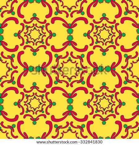 Ornamental seamless pattern. Red and green curve elements on the yellow background. Vintage template. Bright backdrop. Filigree texture. - stock photo