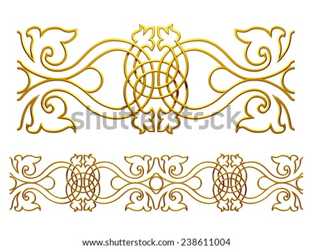 ornamental Segment for a frieze, border or frame. This complements my ninety degree angle items for a circle or corner.  - stock photo