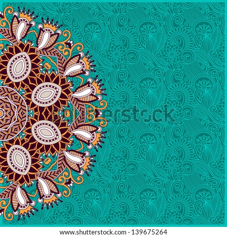 ornamental template with circle floral background,  raster version