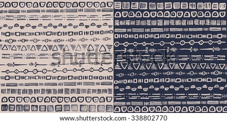 Ornamental tribal horizontal pattern in squares. Made with liquid ink, hand drawn, in two different colors. Simple stripe design, imperfect, stylish. Raster decorative illustration.