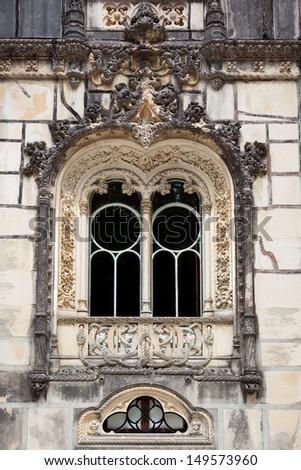 Ornamental window / Quinta da Regaleira Palace in Sintra, Lisbon, Portugal / Europe - stock photo