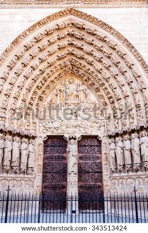 ornamented gate at notre dame de paris, france - stock photo