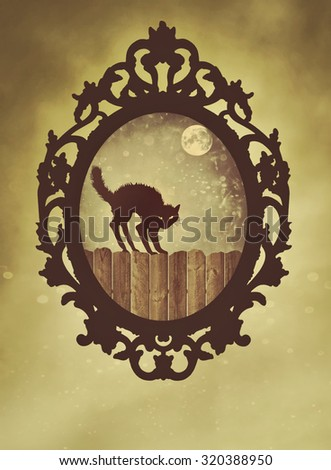 Ornate black frame with halloween cat with vintage feel - stock photo