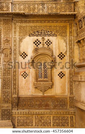Ornate carved sandstone  of haveli, Jaisalmer, Rajasthan, India.