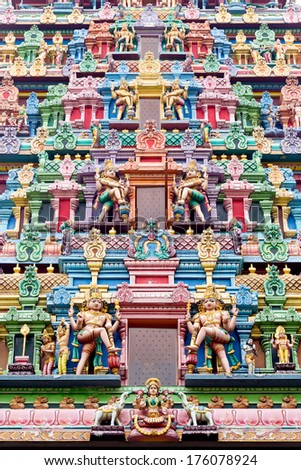 Ornate carvings of an Indian temple in Singapore - stock photo