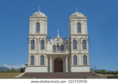 Ornate catholic church located in the town of Sarchi Costa Rica. - stock photo