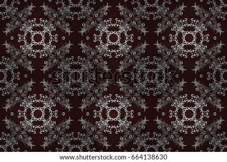 Ornate decoration. Raster illustration. Damask white abstract flower seamless pattern on brown background.
