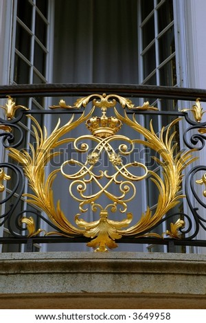 Ornate design of a balcony at the Linderhof Castle in Bavaria, Germany