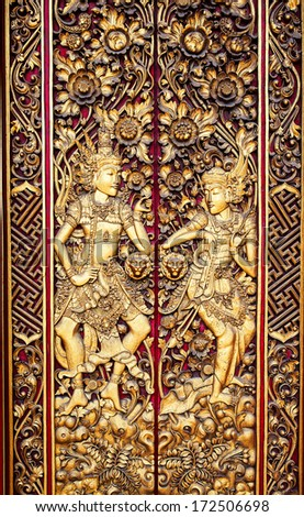 Ornate Entrance Door To Temple In Bali. - stock photo