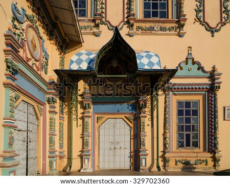 Ornate entrance of the Saints Peter and Paul Cathedral (Petropavlovsky Cathedral) is a Russian Orthodox church. It is one of the most famous churches in Naryshkin Baroque. Kazan, Tatarstan, Russia. - stock photo