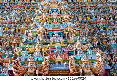 Ornate facade of Hindu sri meenakshi temple, madurai, india - stock photo
