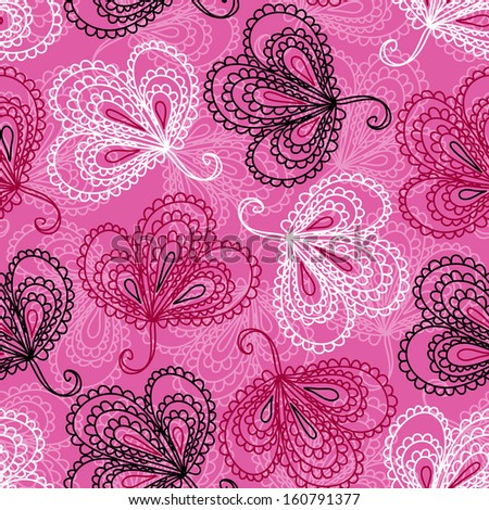 Ornate floral seamless pattern with cute leaves. Raster version