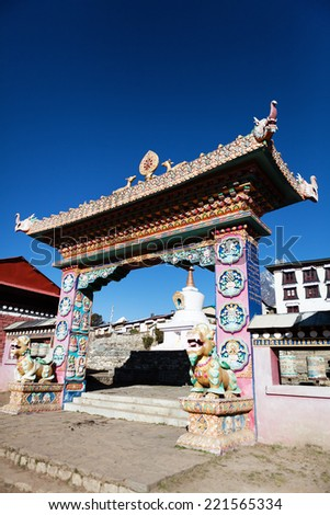 Ornate gate to Buddhist monastery Tengboche Khumbu Himalayas Nepal  - stock photo