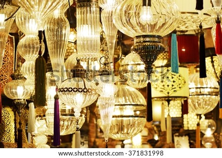 Ornate glass lamps