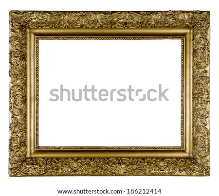 Ornate Gold and Bronze rectangular wooden frame. Vintage frame isolated on white background - stock photo