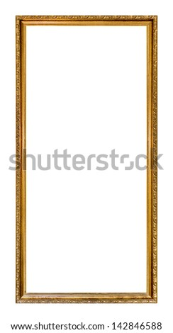 Ornate gold colored home picture frame with blank center (copy space)
