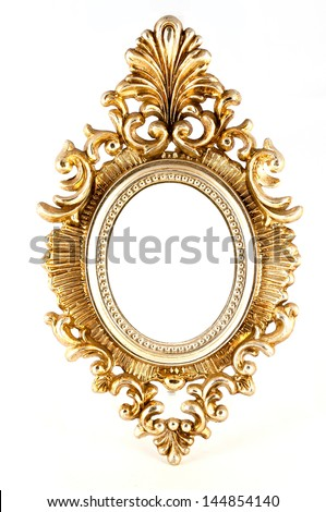 Ornate gold oval frame in baroque style with an empty central oval white copy space for your artwork or photo - stock photo