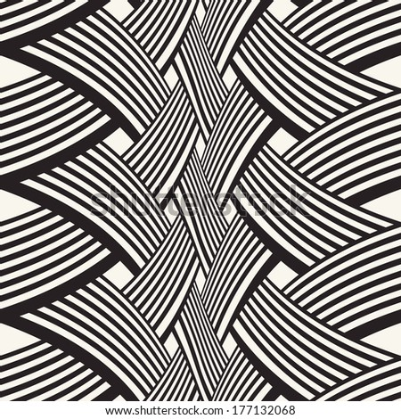 Ornate interlacing curved stripes. Seamless pattern.