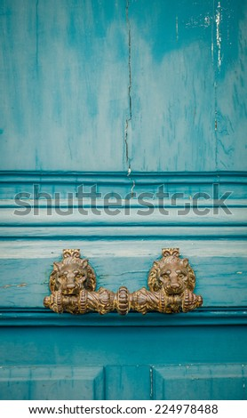 Ornate Lion Handle On A Rustic Door In Paris, France - stock photo