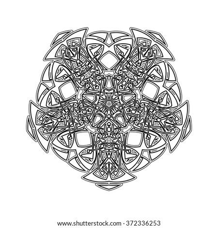 Ornate Mandala. Gothic Lace Tattoo. Celtic Weave With Sharp Corners. The  Circular Pattern