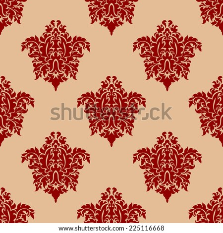 Ornate maroon damask style seamless pattern with repeat floral arabesque motifs in square format suitable for fabric or wallpaper design - stock photo