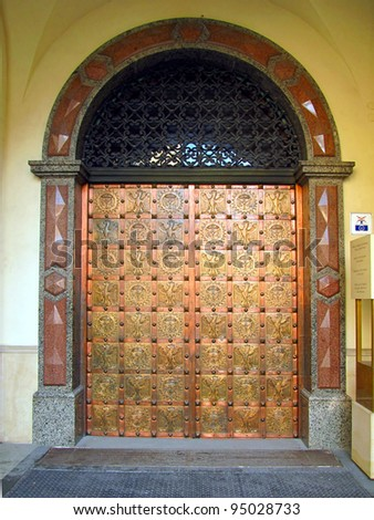 ornate, metal door to the chapel of Our Lady of Jasna Gora, the main entrance - stock photo