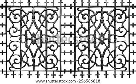 Ornate Metal Iron Fence - stock photo