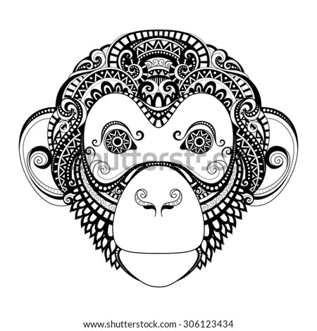 Ornate monkey head patterned tribal monochrome design for Year of the monkey tattoo