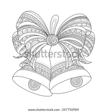 Ornate Monochrome Christmas Golden Bells with Red Bow. Patterned Objects for Coloring Books. New Year and Christmas Template - stock photo