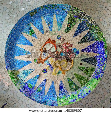 ornate mosaic ceiling sun park Guell in Barcelona - Spain