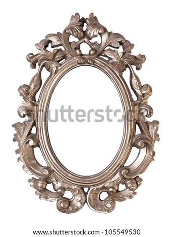 Ornate oval picture frame isolated - stock photo