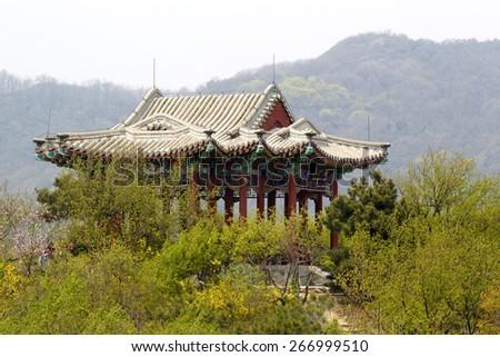 Ornate pavilion in Fragrant Hills, China - stock photo