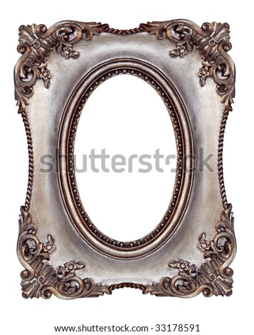 Ornate picture frame, with oval opening. - stock photo